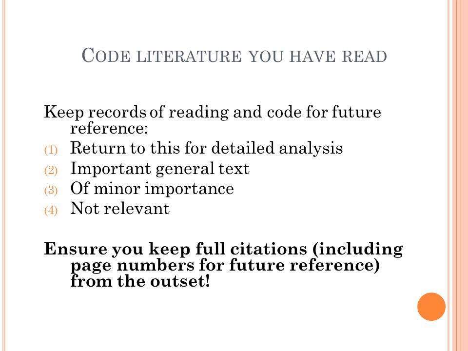 Code literature you have read