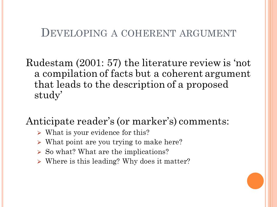 Developing a coherent argument