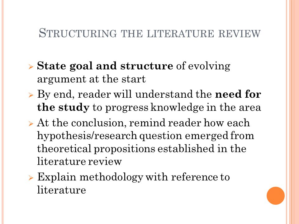 Structuring the literature review