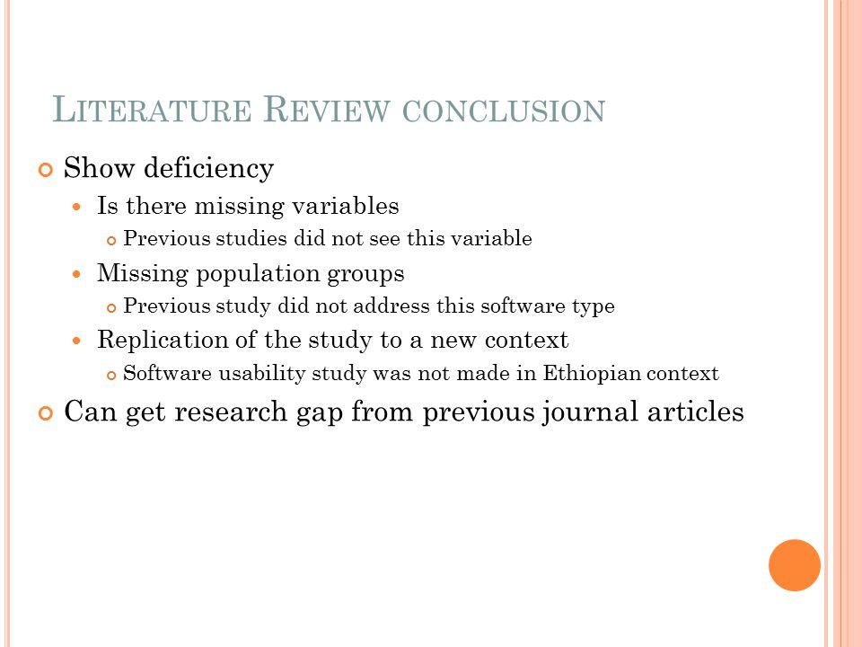 Literature Review conclusion