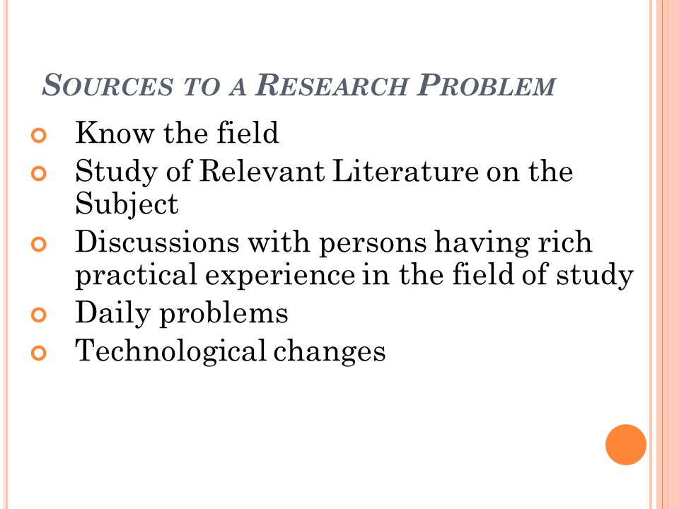Sources to a Research Problem