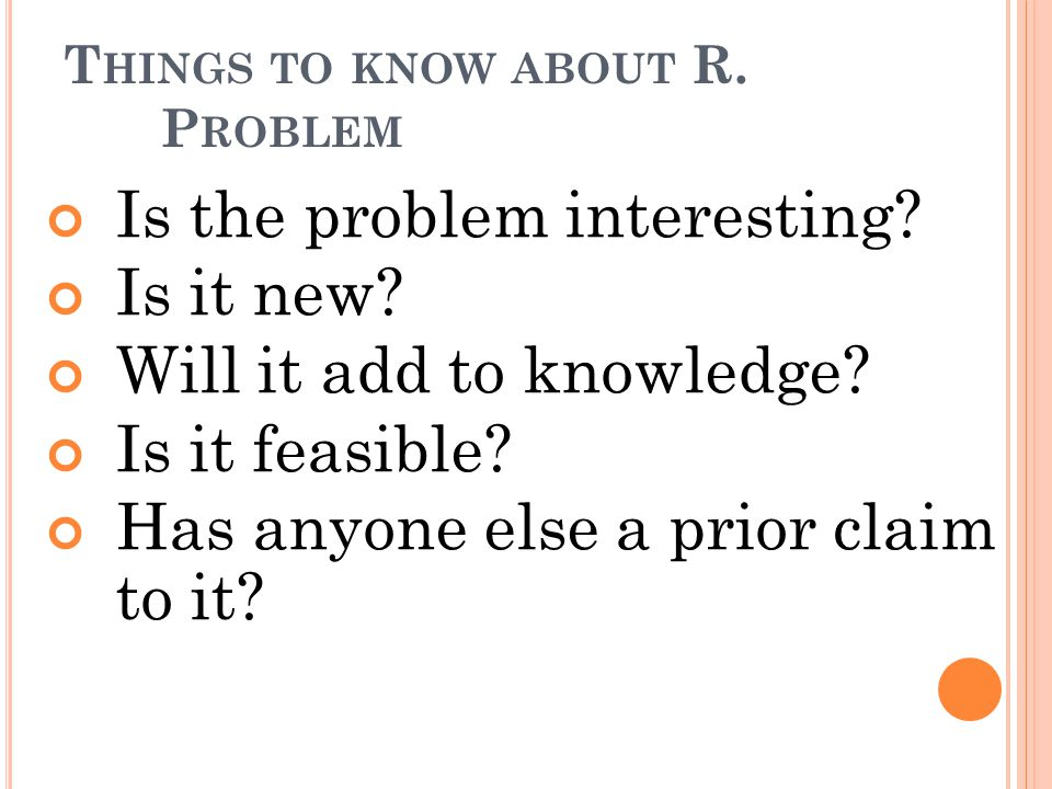 Things to know about R. Problem