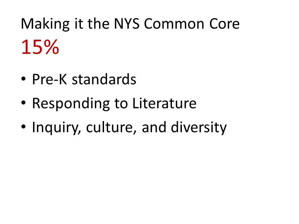 Making it the NYS Common Core 15%