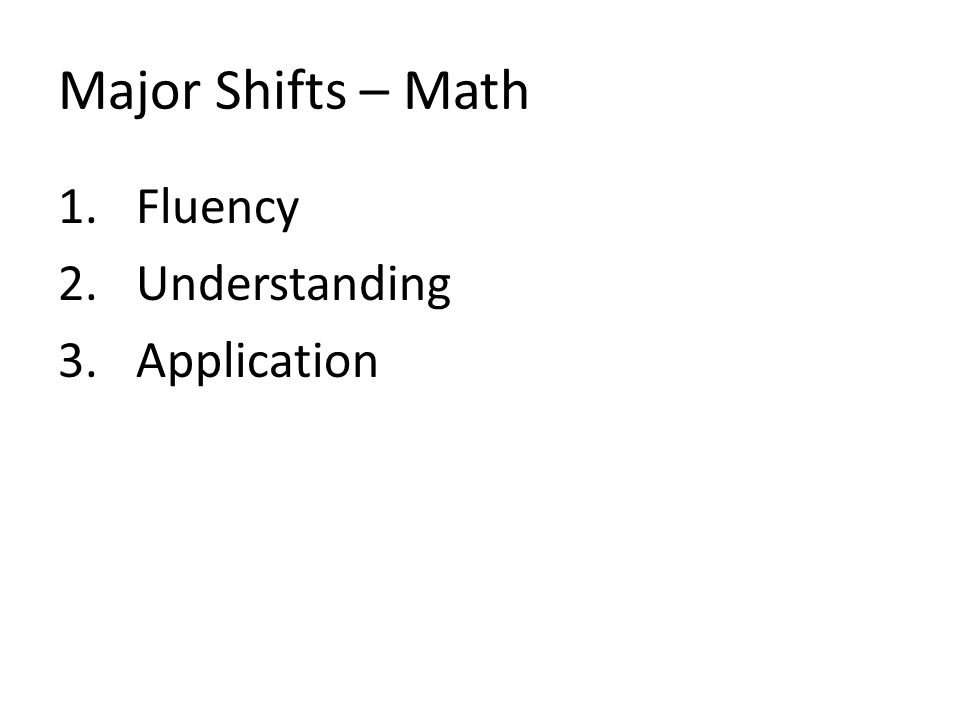 Major Shifts – Math Fluency Understanding Application