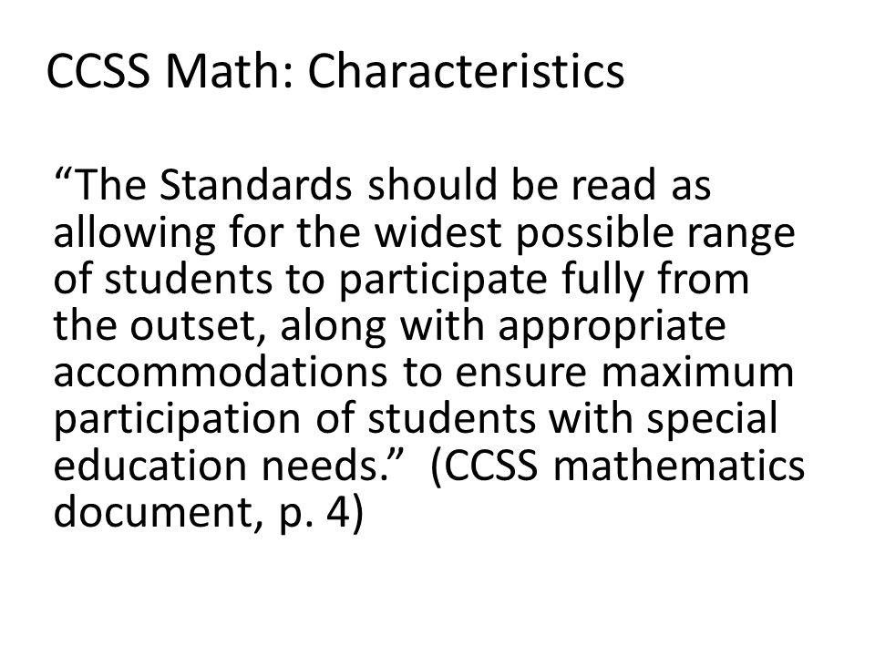 CCSS Math: Characteristics