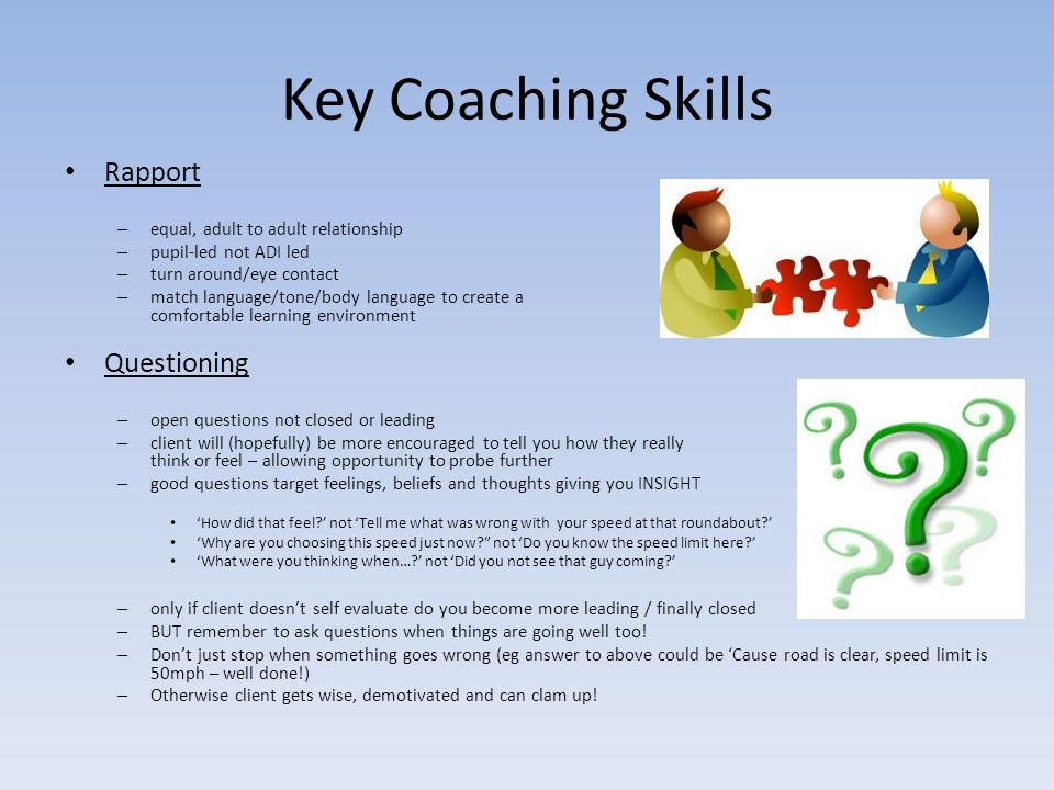 Key Coaching Skills Rapport Questioning