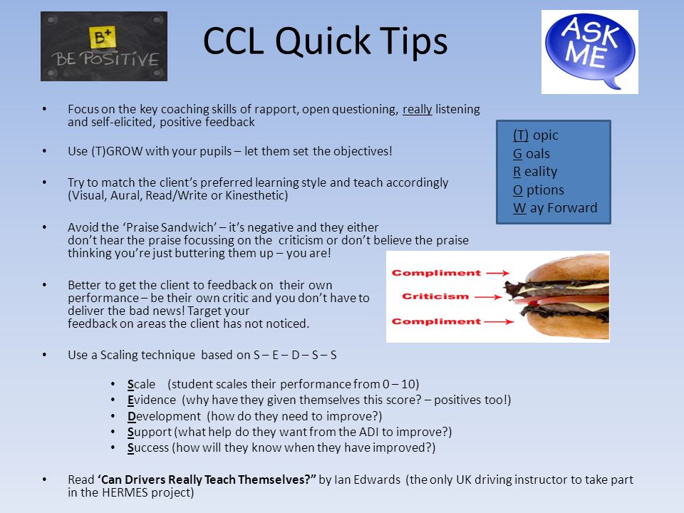 CCL Quick Tips (T) opic G oals R eality O ptions W ay Forward