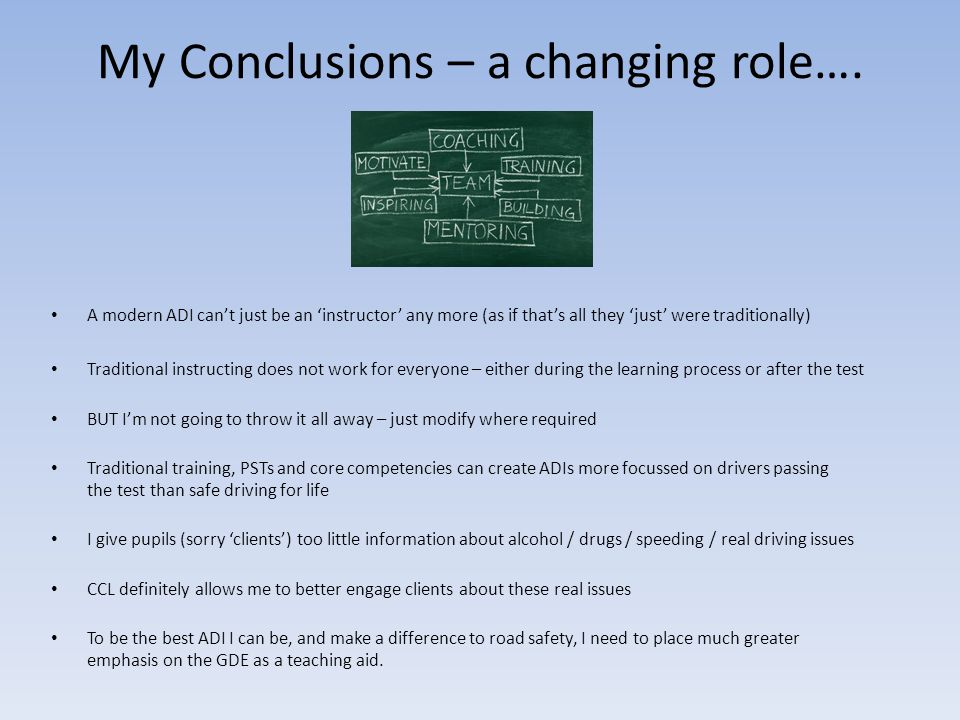 My Conclusions – a changing role….