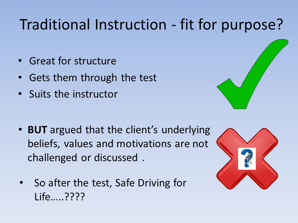 Traditional Instruction - fit for purpose