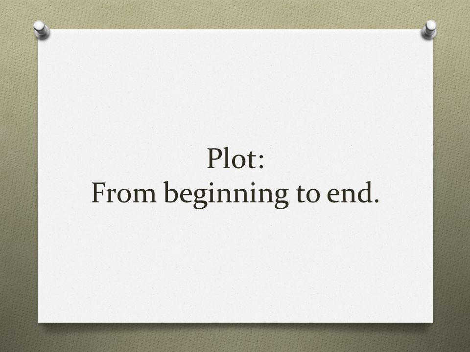 Plot: From beginning to end.