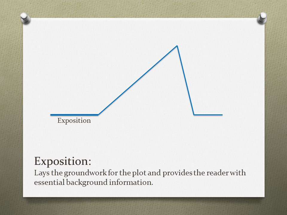 Exposition Exposition: Lays the groundwork for the plot and provides the reader with essential background information.