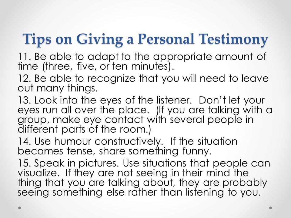 Tips on Giving a Personal Testimony