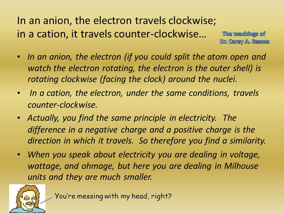In an anion, the electron travels clockwise;