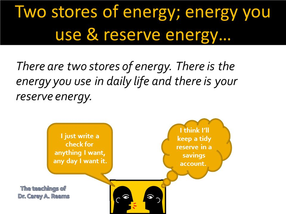 Two stores of energy; energy you use & reserve energy…