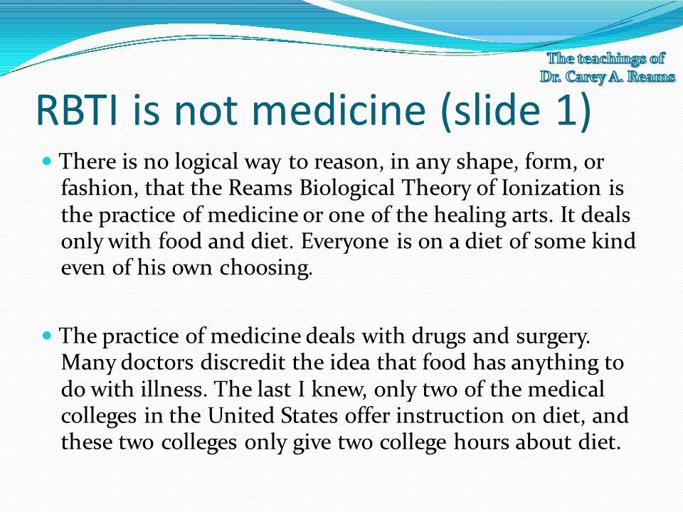 RBTI is not medicine (slide 1)
