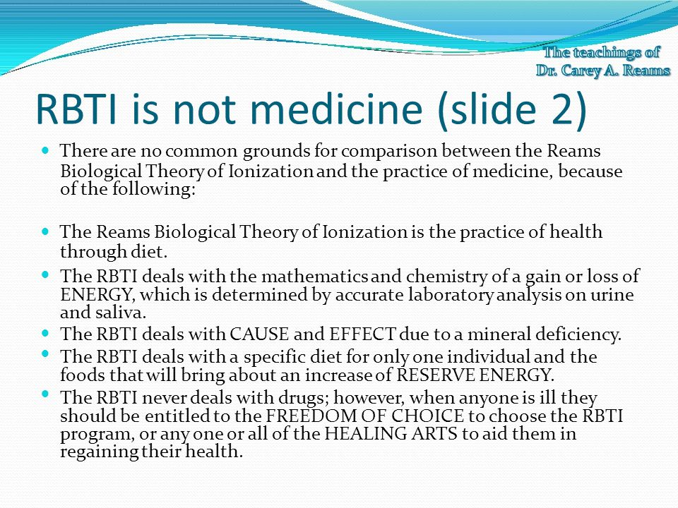 RBTI is not medicine (slide 2)