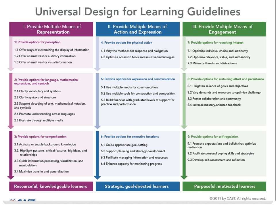 The UDL guideline are structured as three principles that are interpreted vertically from top to bottom with principle (least detail) followed by guideline and checkpoint (most detail).