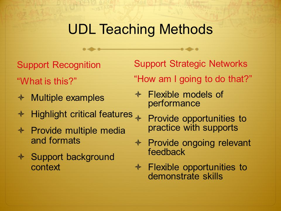 UDL Teaching Methods Support Recognition What is this