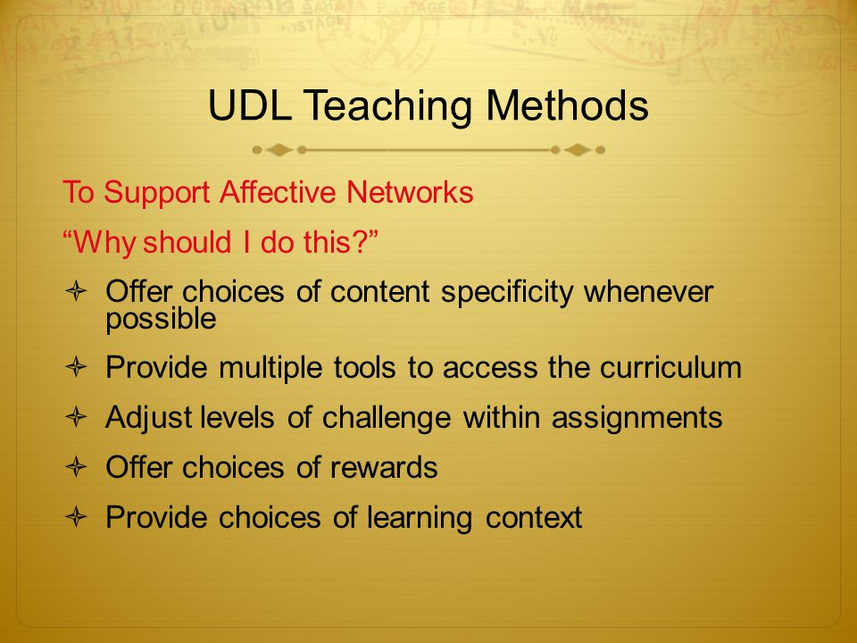 UDL Teaching Methods To Support Affective Networks