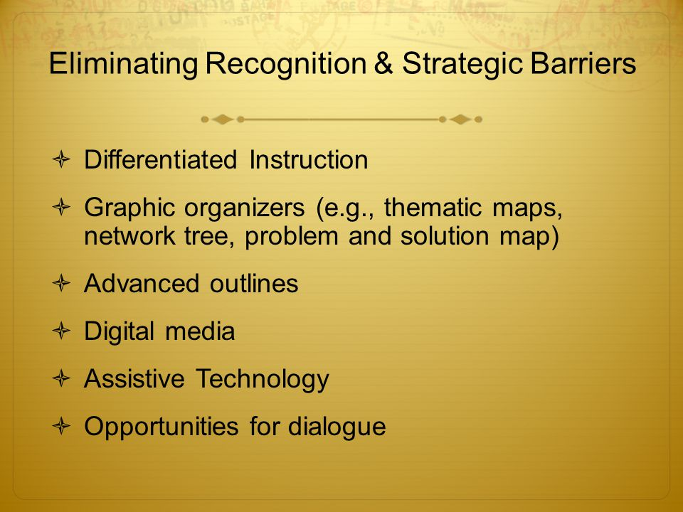 Eliminating Recognition & Strategic Barriers