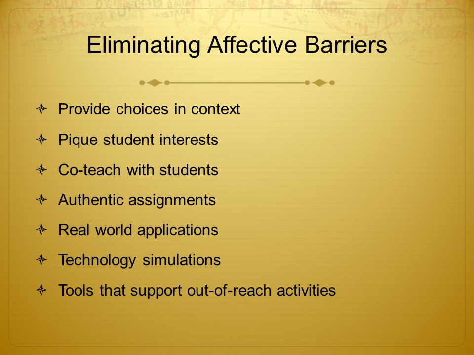 Eliminating Affective Barriers