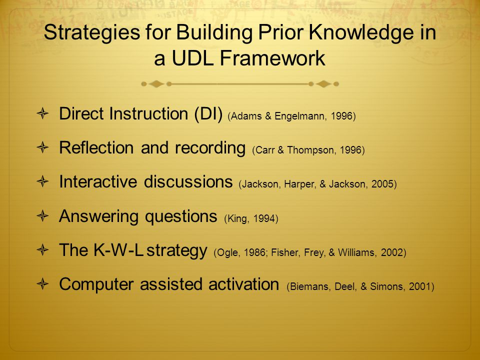 Strategies for Building Prior Knowledge in a UDL Framework