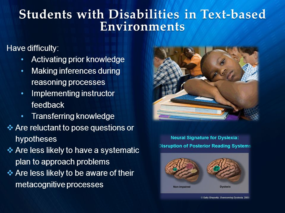 Students with Disabilities in Text-based Environments