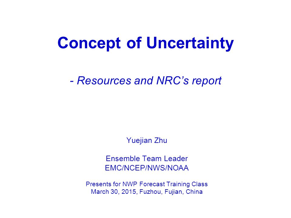 Concept of Uncertainty - Resources and NRC's report