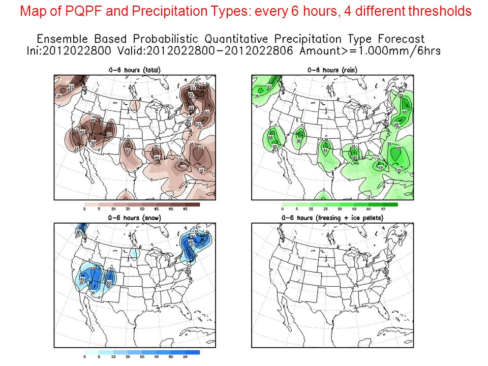 Map of PQPF and Precipitation Types: every 6 hours, 4 different thresholds