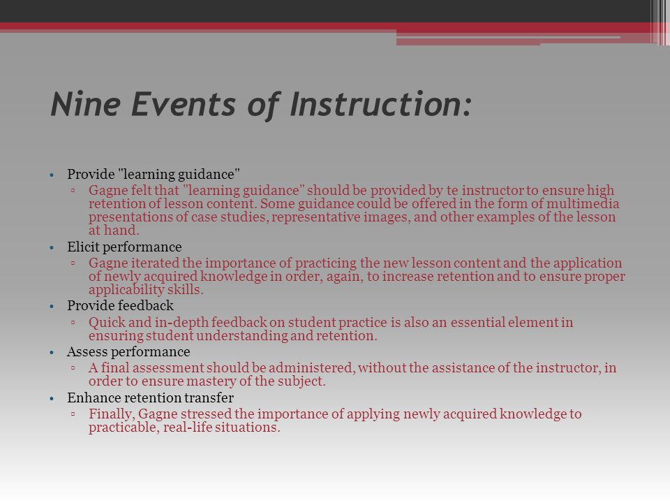 Nine Events of Instruction: