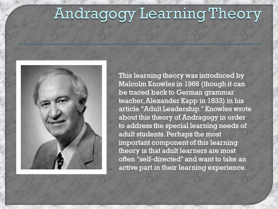 Andragogy Learning Theory