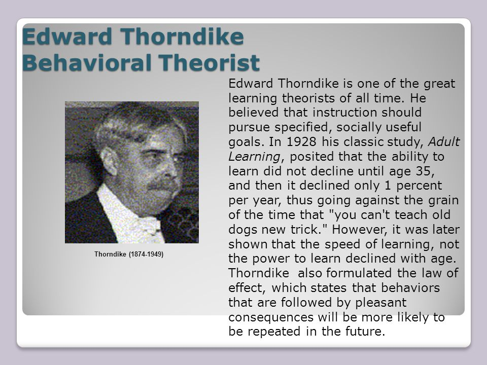 Edward Thorndike Behavioral Theorist