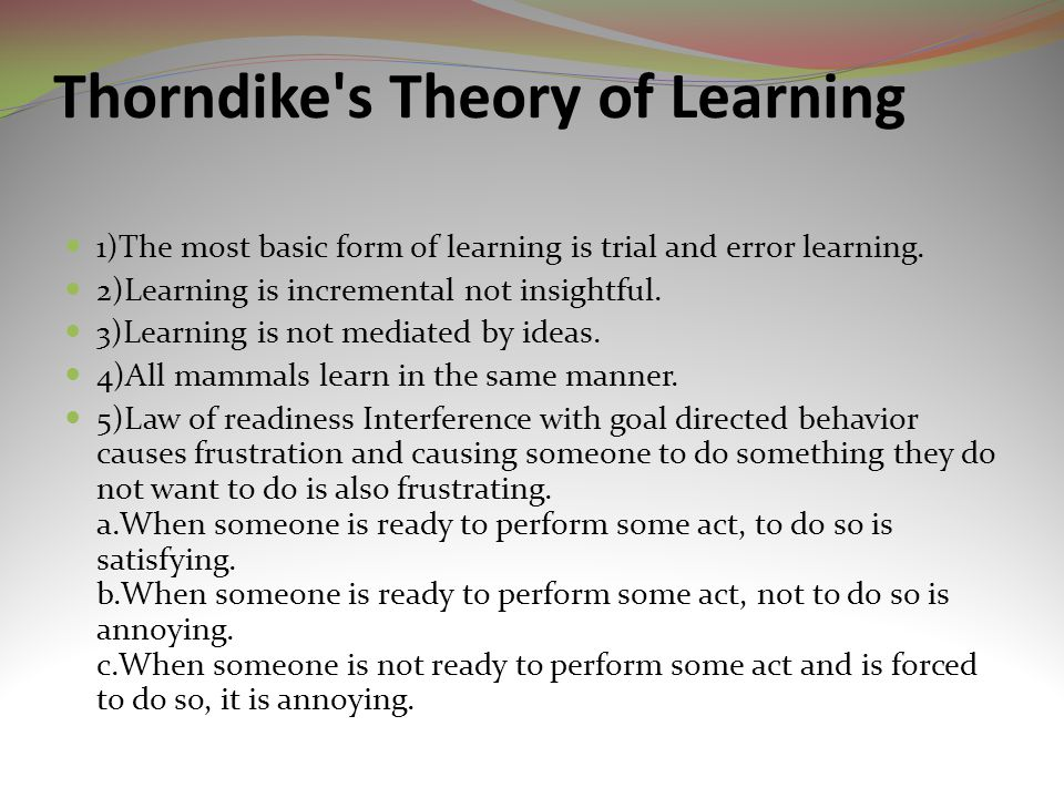 Thorndike s Theory of Learning