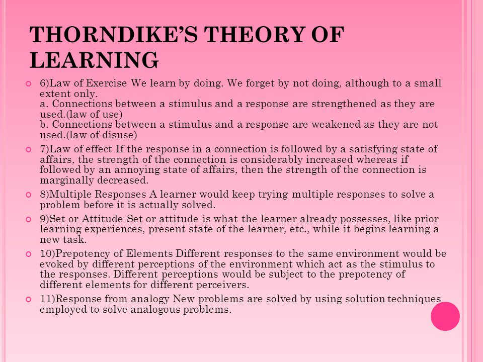 THORNDIKE'S THEORY OF LEARNING