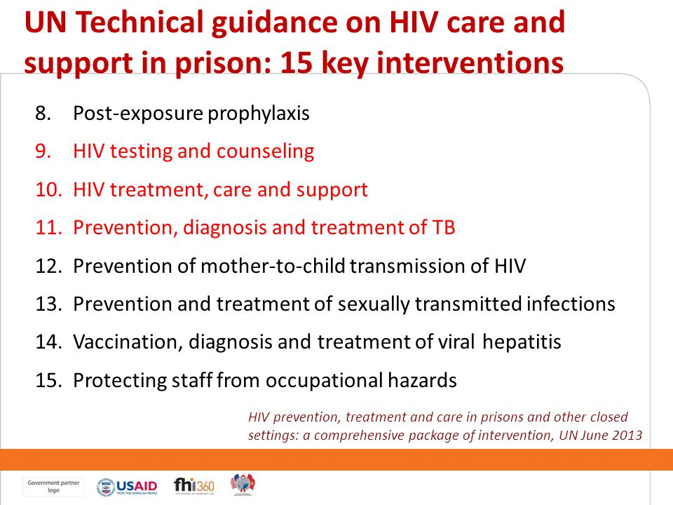 UN Technical guidance on HIV care and support in prison: 15 key interventions