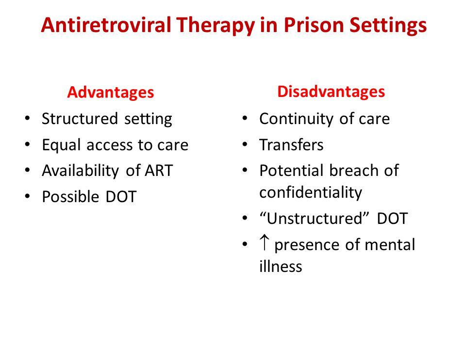 Antiretroviral Therapy in Prison Settings