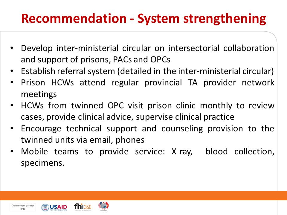 Recommendation - System strengthening