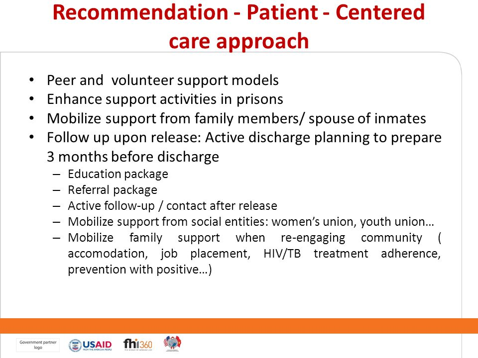 Recommendation - Patient - Centered care approach