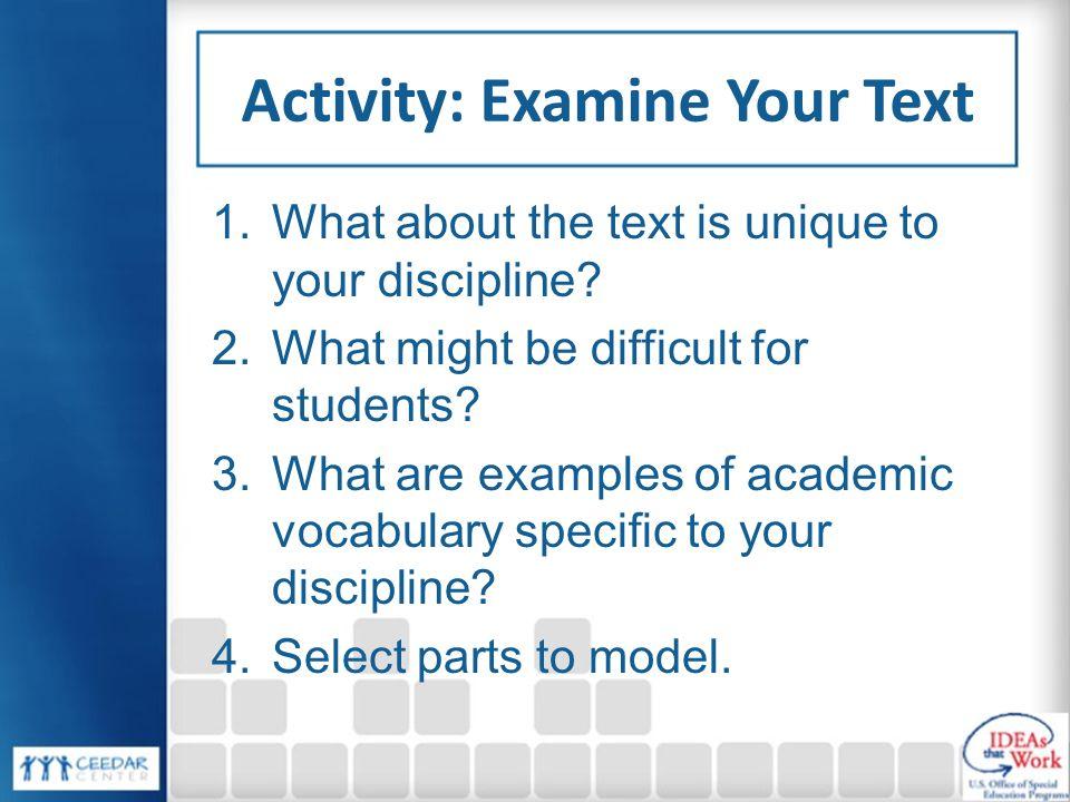 Activity: Examine Your Text
