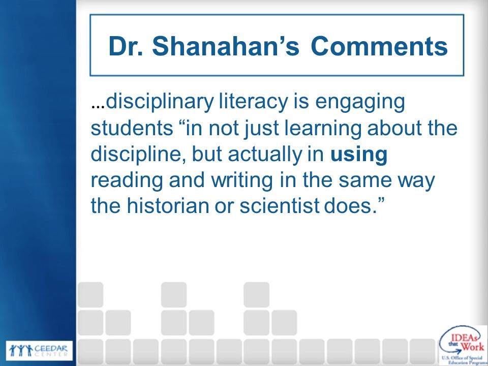Dr. Shanahan's Comments