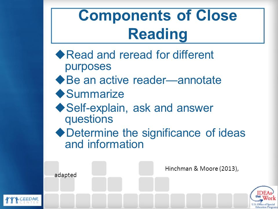 Components of Close Reading