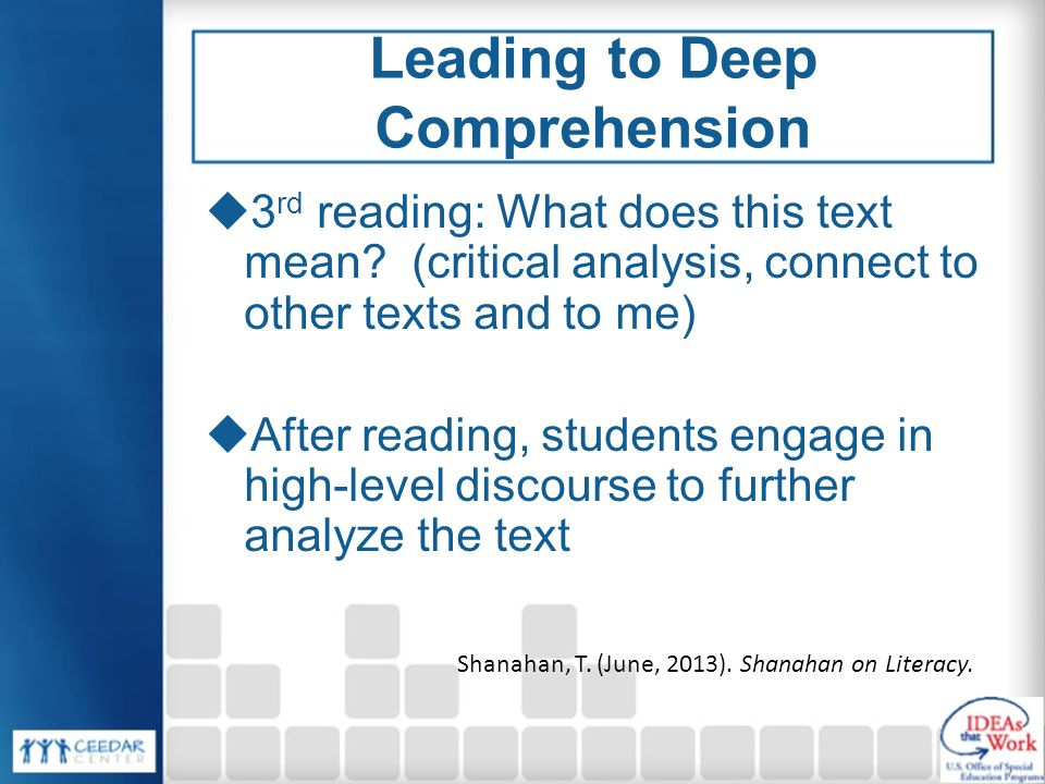 Leading to Deep Comprehension