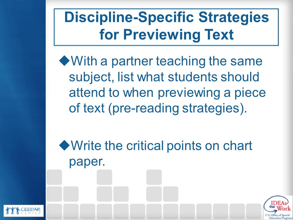 Discipline-Specific Strategies for Previewing Text