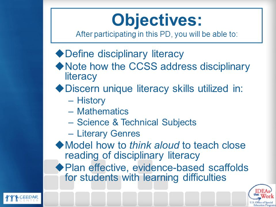 Objectives: After participating in this PD, you will be able to: