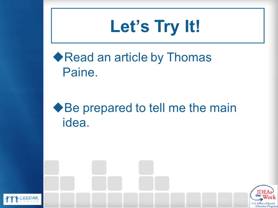Let's Try It! Read an article by Thomas Paine.