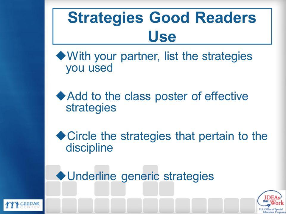 Strategies Good Readers Use