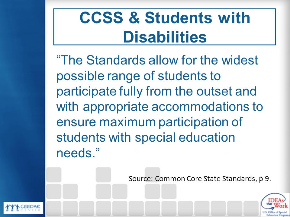 CCSS & Students with Disabilities