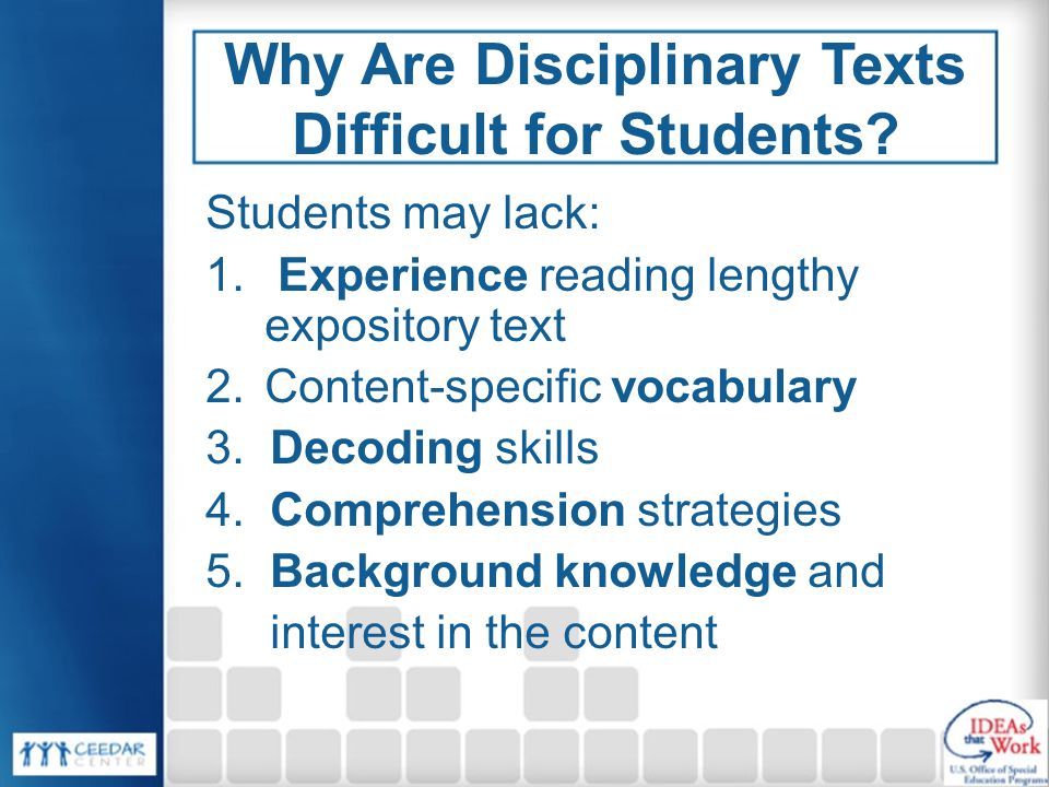 Why Are Disciplinary Texts Difficult for Students