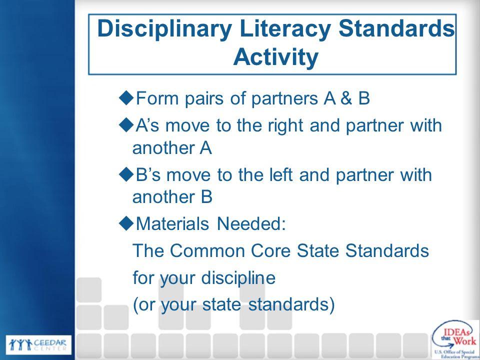 Disciplinary Literacy Standards Activity