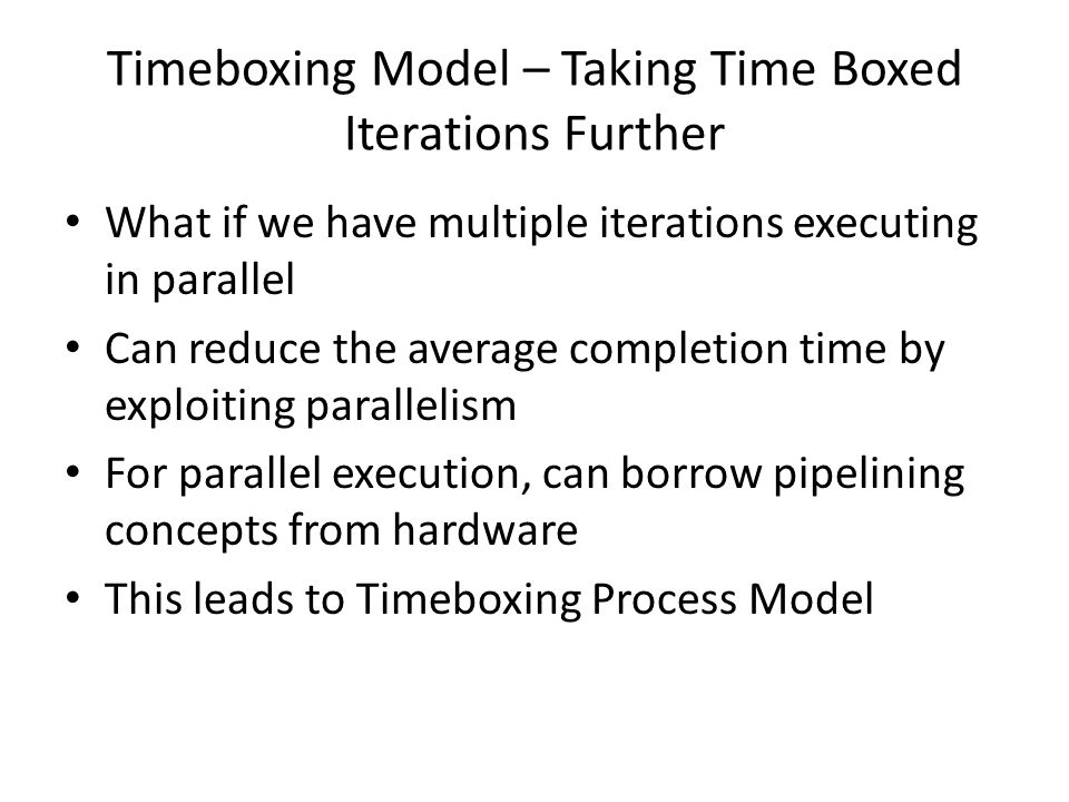 Timeboxing Model – Taking Time Boxed Iterations Further